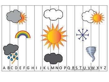 Weather themed Alphabet Sequence Puzzle preschool educatio