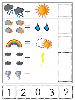 Weather themed Math Subtraction preschool learning game. D