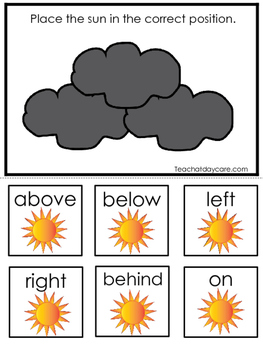 Weather themed Positional Game.  Printable Preschool Curri