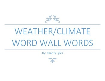 Weather/Climate Word Wall Words