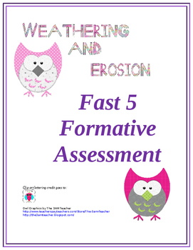 Weathering and Erosion Fast 5 Formative Assessment