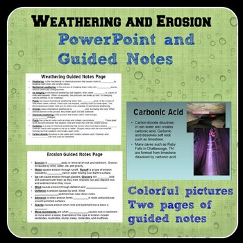 Weathering and Erosion Guided Notes and Notebook Page