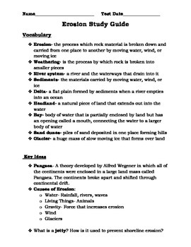 Weathering and Erosion Study Guide and Test