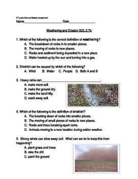 Weathering and Erosion Vocabulary Quiz