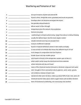 Weathering and Formation of Soil Quiz/Worksheet