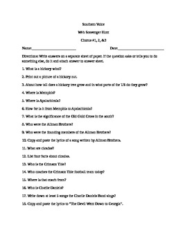 """Web Scavenger Hunt for Chorus of """"Southern Voice"""""""