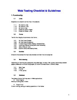 Web Testing Checklist & Guidelines