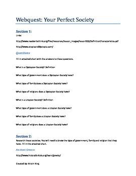 Webquest: Your Perfect Society - Utopia or Dystopia