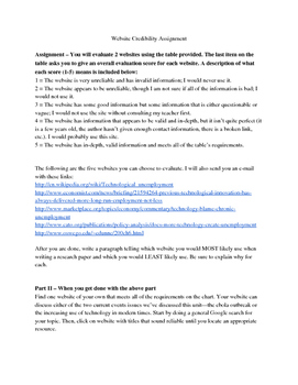 Website Credibility Assignment