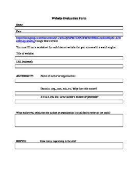 Website Evaluation Form