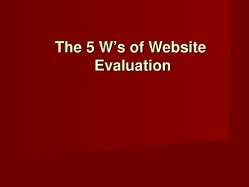 Website Evaluation PowerPoint - Research Paper and Exposit