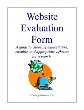 Website Evaluation Worksheet Check List and... by The Nifty ...