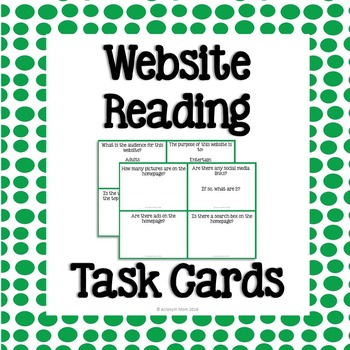 Website Reading Task Cards