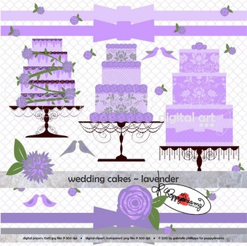 Wedding Cakes Lavender Clipart by Poppydreamz
