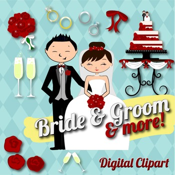 Wedding Couple Bride Groom Clipart Set