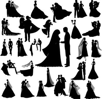 Wedding silhouette digital clipart