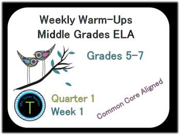Week 1 of 6th Grade ELA Warm-Up- Language Arts