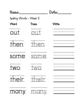 Week 11 Sight Words / Spelling Words Worksheet