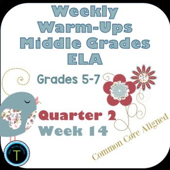 Week 14 of Middle School or Grade 6 ELA Warm Up- Language