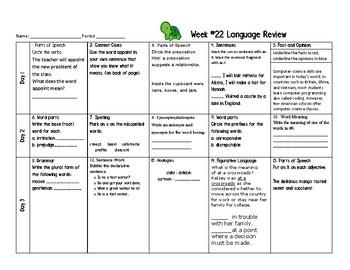 Week 22 of Middle School or Grade 6 ELA Warm Up- Language