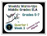Week 3 of 6th Grade ELA Warm Up- Language Arts Bell work