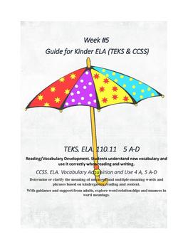Kinder:  Week #5 ELA K Lesson Plans