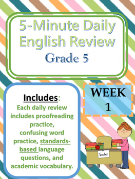 Week One-Daily English--Bell Ringer--Morning Work
