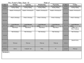 Week Plans Sheet