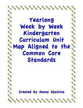 Week by Week Kindergarten Curriculum Map Aligned to the Co