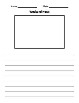 Weekend News Journal Template for Classroom