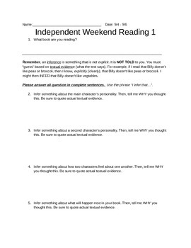 Weekend Reading Questions RL.5.1