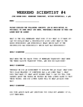 Weekend Scientist Sheet #4: Nervous System- Membrane, Tran