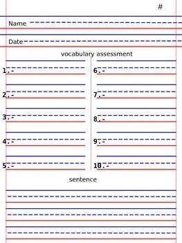 Weekley spelling -vocabulary evaluation format