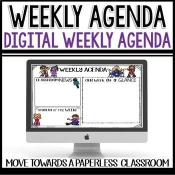 Weekly Agenda Newsletter (GOOGLE SLIDES - editable) Rock a