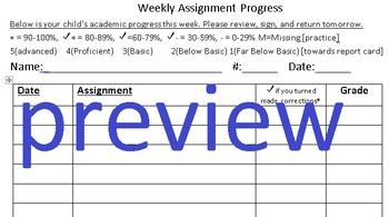 Weekly Assignment Progress Sheet