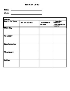 Weekly Behavior Checklist