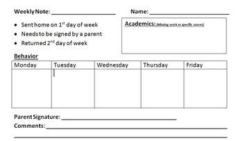 Weekly Behavior Note