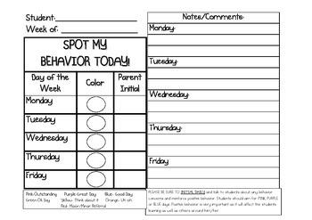 Weekly Behavior Notes