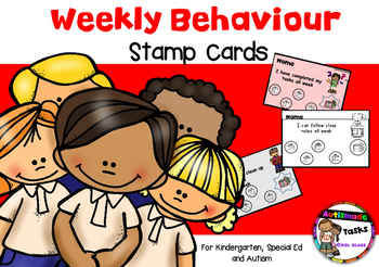 Weekly Behaviour stamp cards - kindergarten, Special ed, Autism