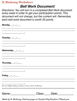 Weekly Bell Work Document
