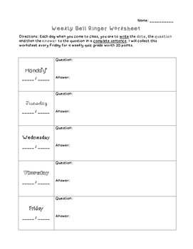Weekly Bellringer Worksheet 5