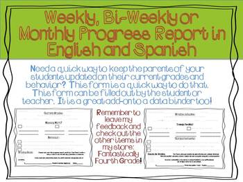 Weekly, Bi-weekly and Monthly Progress Report in English a