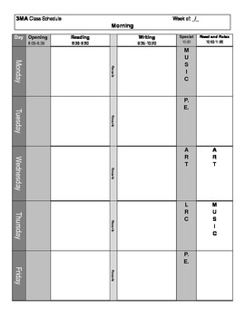 Weekly Blank Lesson Planning Template