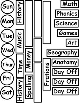 Weekly Calendar with Daily Subjects