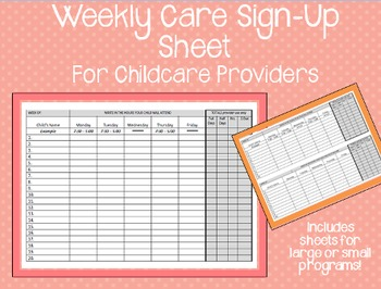 Weekly Care Sign-Up Sheet - Childcare