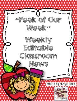 Weekly Classroom Newsletter