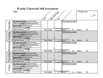 Weekly Classwork Self Assessment