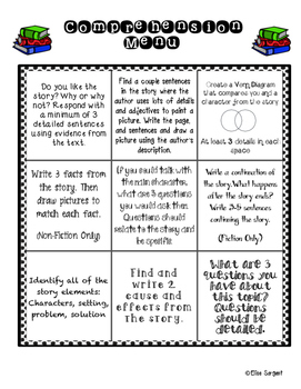 Weekly Comprehension and Spelling Menu