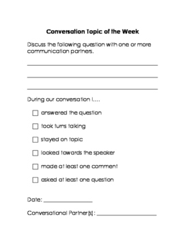 Weekly Conversation Topics: Homework for Social Language,
