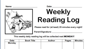 Weekly Daily Reading Log